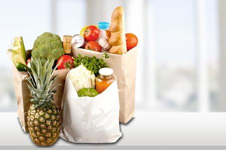 paper bag: Shopping, shopper, produce. Stock Photo