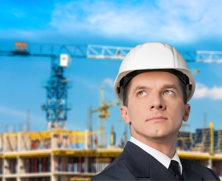 architect: Engineer, Hardhat, Architect. Stock Photo
