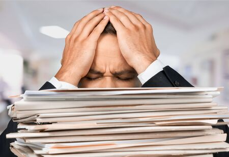 stack of paper: Emotional Stress, Paper, Stack. Stock Photo