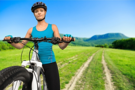 cycling mountain: Cycling, Mountain Bike, Isolated. Stock Photo