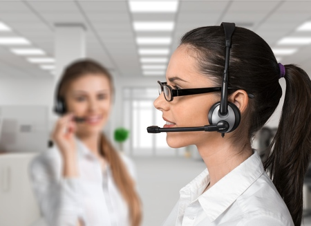 handsfree device: Customer Service Representative, Service, Telephone. Stock Photo