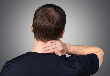 pain: El dolor, el cuello, el latigazo cervical. Foto de archivo