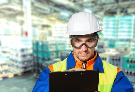 serviceman: Technician, inspector, serviceman. Stock Photo