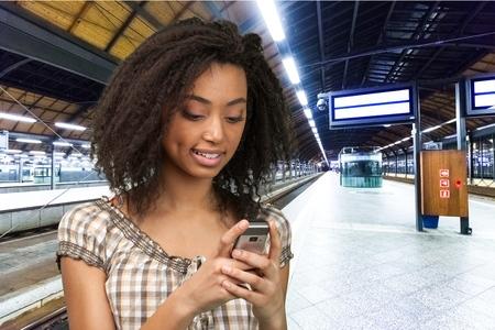 text messaging: Telephone, Smart Phone, Text Messaging. Stock Photo