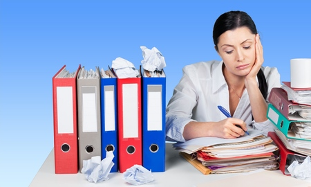 overwrought: Emotional Stress, Office, Women. Stock Photo
