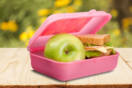lunch meal: Lunch Box, Lunch, Education. Stock Photo