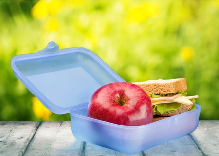 plastic box: Lunch Box, Lunch, Education. Stock Photo