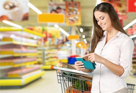 Coupon, Supermarket, Groceries. Stockfoto