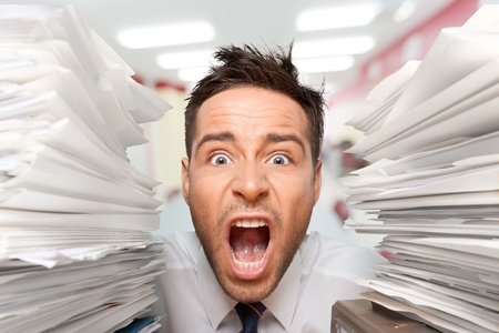overburdened: Emotional Stress, Exhaustion, Document. Stock Photo