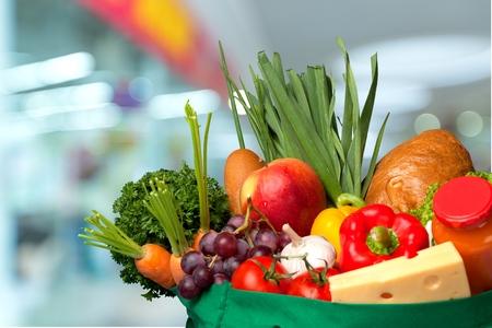 grocery bag: Groceries, Bag, Fruit.