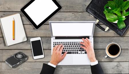 old desk: Laptop, hipster, desktop.