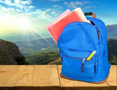 Backpack, schoolbag, blue. Imagens