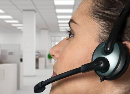 customer service representative: Call Center, Customer Service Representative, Headset. Stock Photo