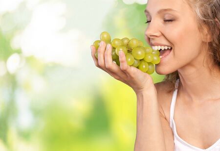 woman eating fruit: Eating, Women, Healthy Eating.