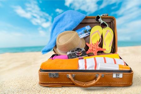 luggage travel: Beach, cruise, clothing. Stock Photo