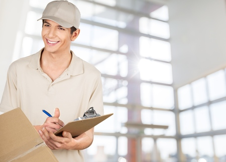 dropoff: Delivering, Package, Messenger. Stock Photo