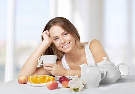 petit dejeuner: Manger sainement, petit déjeuner, Femmes. Banque d'images