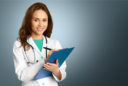 doctor clipboard: Doctor, Female Doctor, Women. Stock Photo