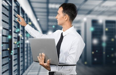 network engineer: Technology, Network Server, Data. Stock Photo