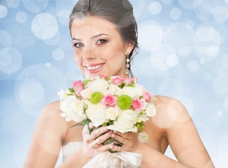 blue face: Bride, background, makeup. Stock Photo