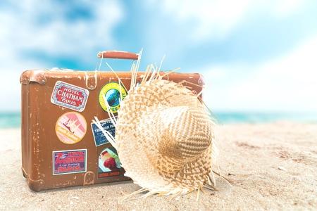 Travel, Koffer, Label. Stockfoto
