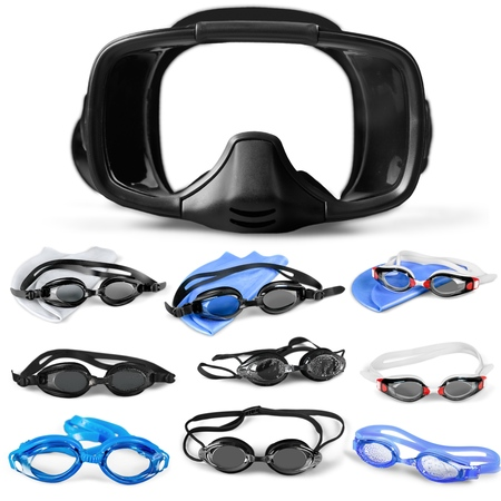 swimming goggles: Swimming Goggles, Blue, Isolated.