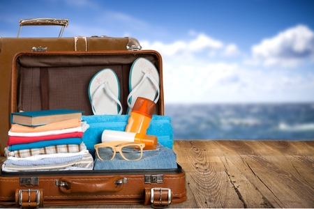 Travel, traveler, pack. Stockfoto