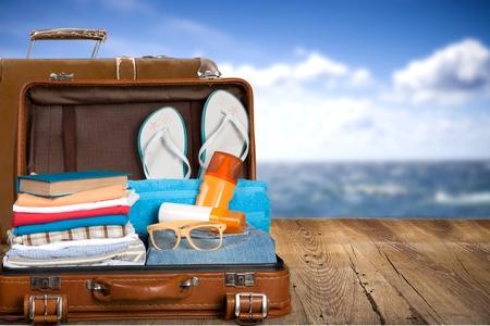 Travel, traveler, pack. Foto de archivo