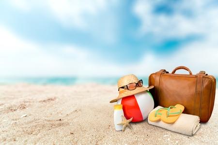 여행: 가방, 휴가, 물품.