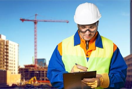 safety check: Technician, inspector, serviceman. Stock Photo