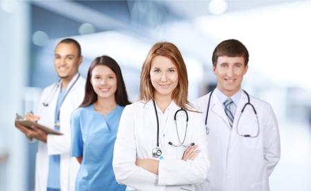 grupo de médicos: Médico, equipo, estudiantes.