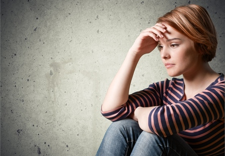 one teenager: Depression, Teenager, Sadness. Stock Photo