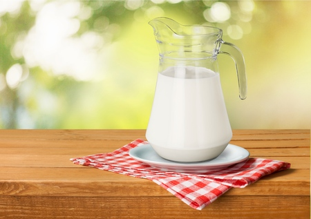 milk jug: Milk, jug, glass. Stock Photo