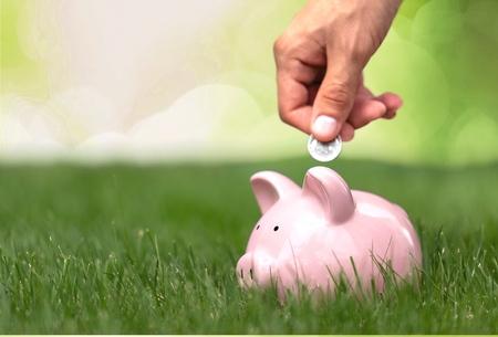 Geld, sparen, lenen. Stockfoto