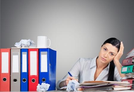 stress woman: Emotional Stress, Office, Women. Stock Photo