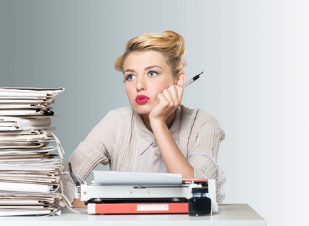 stressed business woman: Desk, document, old fashioned.
