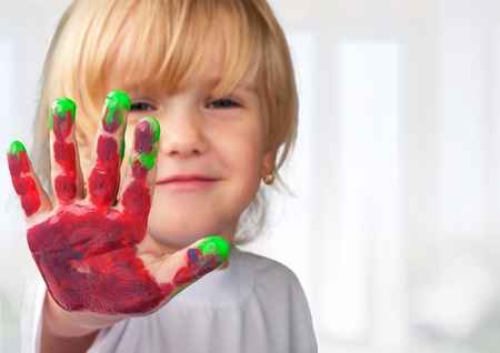 Préscolaire, enfants, peinture. Banque d'images - 43125763