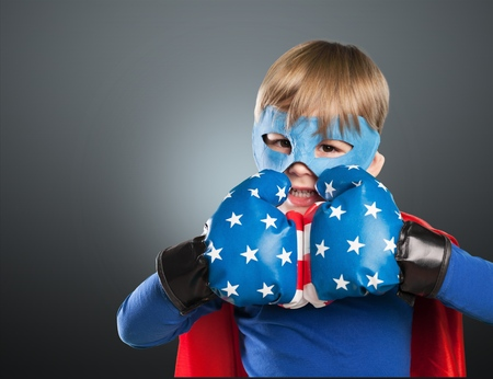 boxing boy: Kid, superhero, girl.