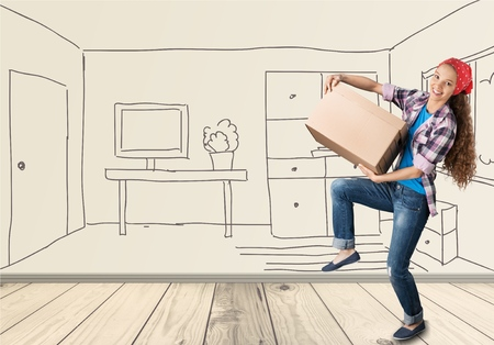 moving office: Moving House, Box, Moving Office. Stock Photo