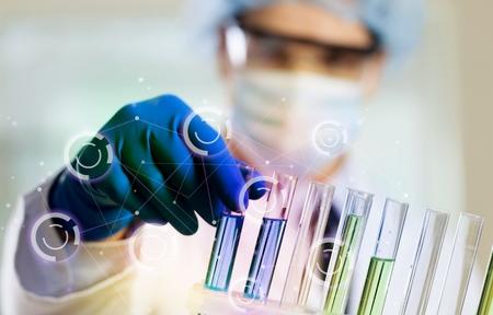 laboratorio clinico: Lab, fórmula, matraz. Foto de archivo
