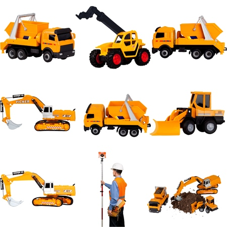 construction machinery: Bulldozer, Construction, Isolated.