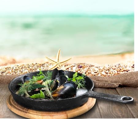 Food, pasta, beach.