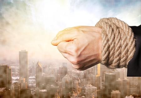 tied: Gebunden, Menschliche Hand, Knoten.