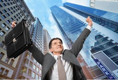 succesful: Happy, businessman, man.