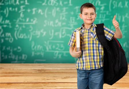 elementary student: Elementary Student, Little Boys, Backpack. Stock Photo