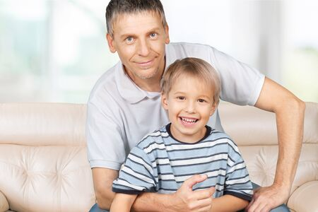 role: Role Model, Grandfather, Child. Stock Photo