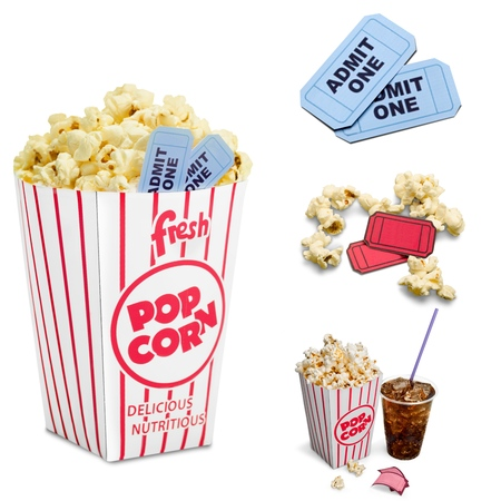tickets: Popcorn, Soda, Movie.