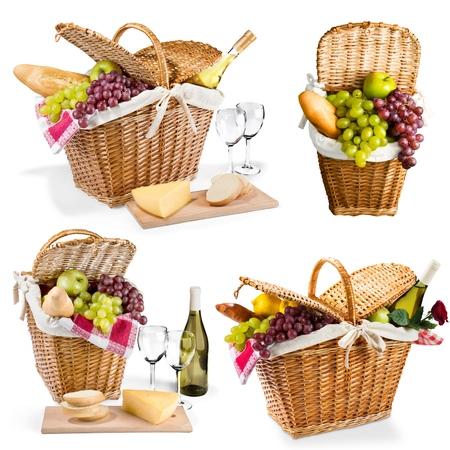 corbeille de fruits: Pique-nique, panier pique-nique, panier.