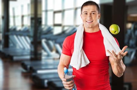 vida sana: Hombres, Ejercicio físico, Estilo de vida saludable. Foto de archivo
