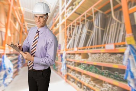 house call: Safety, Inspector, Quality Control. Stock Photo